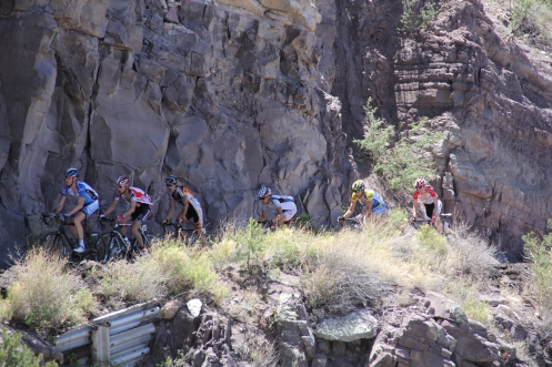 Mogollon climb: Rory Sutherland, Chris Baldwin, Sebastian Salas, Chad Beyer, Marc de Maar, Tyler Wren (photo by Mary Topping)
