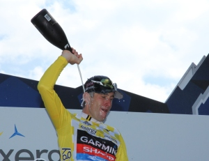 Christian Vande Velde celebrates his overall 2012 USA Pro Challenge victory