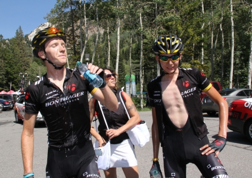 Ian Boswell and Joe Dombrowski right after 2012 Tour of Utah Stage 5 finish