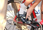 Josh Schroeder slips his foot into taped shoe before Vail time trialstart