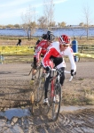 Todd Wells leads Mitch Hoke through the course's onepuddle