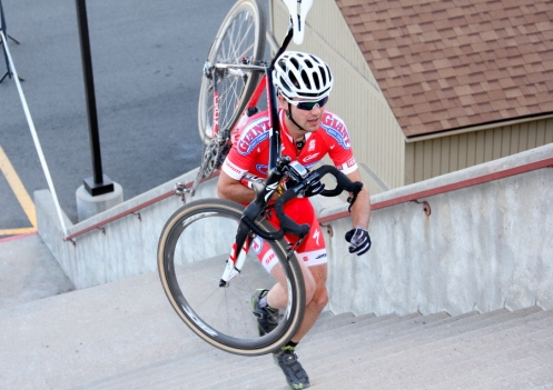 Yannick Eckmann on the long stairs at Bandimere