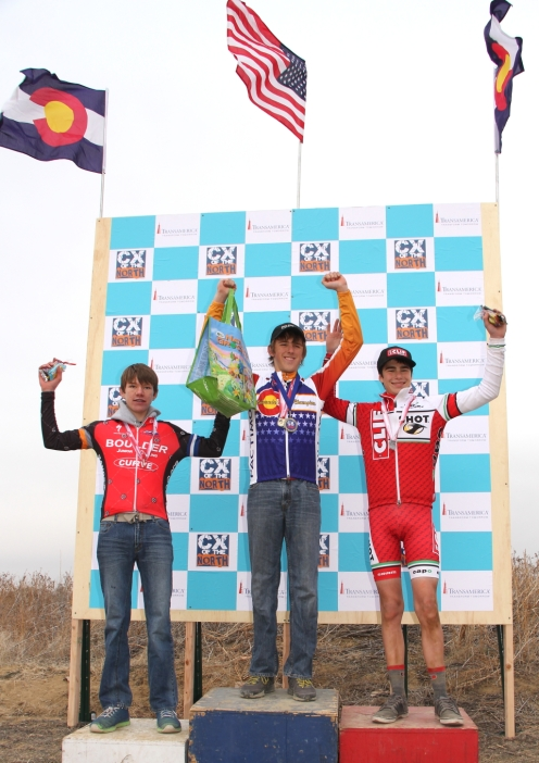 2012 Colorado State Cross champs Junior 15-16 podium (l - r) Cade Bickmore 3rd, Gage Hecht 1st, Liam Dunn 2nd