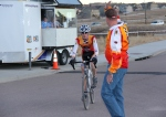 Bruce Hecht salutes son at finish
