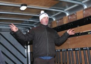 Chandler Snyder explains the transport van set-up