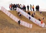 Nicole Duke on the Colorado state championship course run-up at Cross of the North