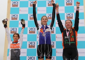 2012 Junior women 17-18 Colorado State Cyclocross Championships (l - r) Katie Clouse 3rd, Laurel Rathbun 1st, Kirsten Williams 2nd