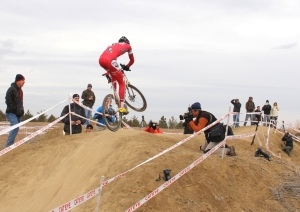 Brady Kappius on the big-air hill during 2012 Cross of the North