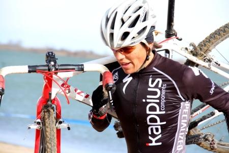 Karen Hogan on a sandy run-up
