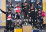 Boulder Cyclocross Series race 5 men's open podium: (l – r) Chris Case 5th, Ken Benesh 2nd, Russell Stevenson 1st, Pete Webber 3rd, Brandon Dwight4th