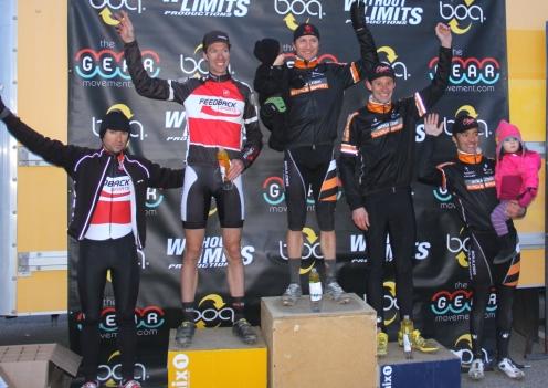 Boulder Cyclocross Series race 5 men's open podium: (l - r) Chris Case 5th, Ken Benesh 2nd, Russell Stevenson 1st, Pete Webber 3rd, Brandon Dwight 4th