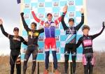 2012 Colorado cyclocross champs podium (l – r) Dwight 5th, Trujillo 3rd, Eckmann 1st, Krughoff 2nd, Powlison4th