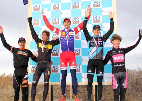 2012 Colorado cyclocross champs podium (l - r) Dwight 5th, Trujillo 3rd, Eckmann 1st, Krughoff 2nd, Powlison 4th