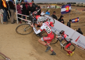 Liam Dunn and and Eric Brunner on the run-up at Cross of the North