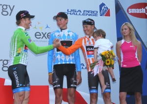 The final 2012 USA Pro Challenge podium, Farrar and Danielson celebrate, Joe Dombrowski looks on