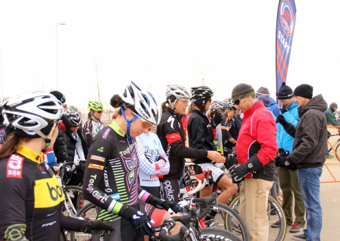 Front row support, women's open race line-up for 2012 Colorado State Cyclocross Championships