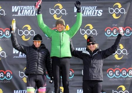 Boulder Cyclocross Series race 5 womens open podium (l - r) Rebecca Gross 2nd, Karen Hogan 1st, Kristin Weber 3rd