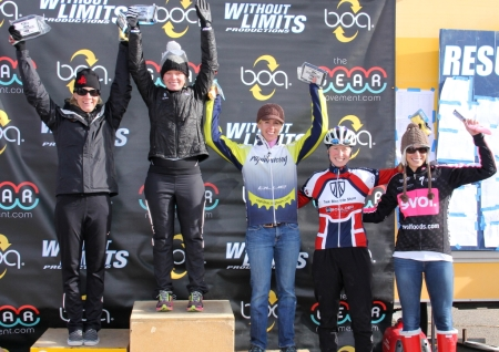 2012 Boulder Cross Series womens open series winners (l - r) Kristin Weber 2nd, Kate Powlison 1st, Kristal Boni 3rd, Melissa Barker 4th, Breeze Brown 5th