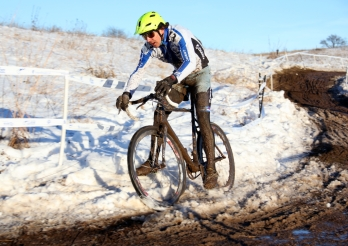 Adam Craig on sketchy corner on Badger Prairie Park course