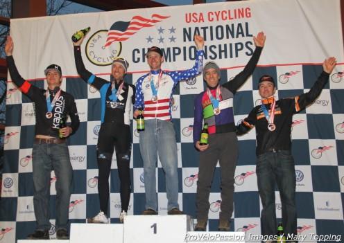 Master's 40-44 2013 'cross podium (l - r) Ed Baker 4th, Mark Savery 2nd, Pete Webber 1st, Michael Yozell 3rd, Brandon Dwight 5th
