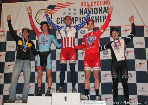 2013 U23 'cross nationals podium (l - r) Skyler Trujillo 4th, Andrew Dillman 2nd, Yannick Eckmann 1st, Tobin Ortenblad 3rd, Joshua Johnson 5th