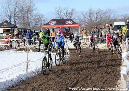 Elite men's first turn at 2013 'cross nationals, Danny Summerhill on Ryan Trebon's wheel with Brady Kappius second on the outside
