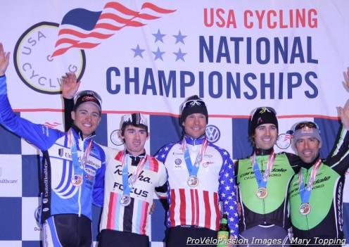 Elite men's podium at 2013 'cross nationals (l - r) Danny Summerhill 4th, Zach McDonald 2nd, Jonathan Page 1st, Jamey Driscoll 3rd, Tim Johnson 5th