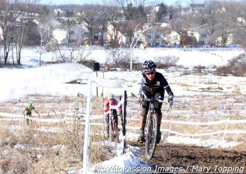 Nicole Duke chased by Meredith Miller and Katie Antonneau near the end of lap 2 at 2013 cyclocross nationals