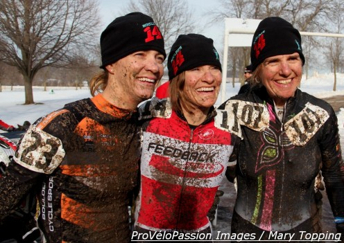 Three happy ladies (l - r) Kristin Webber who landed 4th, Lisa Hudson with 7th, and Margell Abel with 5th in masters 40-45 'cross nationals race