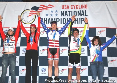 Women's 45-49 'cross nationals podium (l - r) Jeanne Fleck 4th, Antonia Leal 2nd, Shannon Gibson 1st, Stacey Barbossa 3rd, Geraldine Schulze 5th