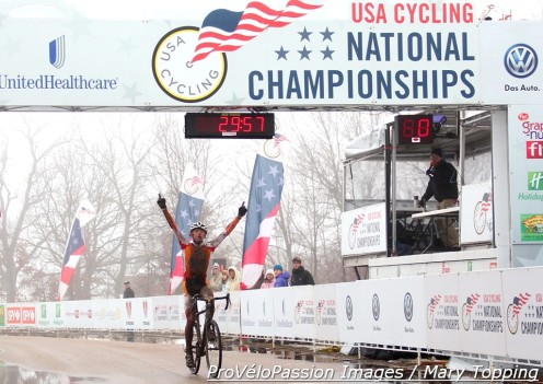 Gage Hecht wins the junior 15-16 race at the 2013 cyclocross national championships