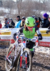 Katie Antonneau's first pass over the barriers at 'cross nationals