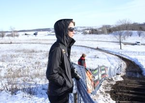 Kristin Weber spectating and scoping out conditions at 'cross Nationals yesterday