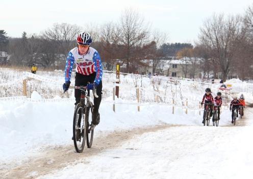 Logan Owen pre-rides the 2013 Cyclo-cross Nationals course