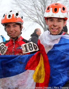 Stephenson and Bailey (l - r) celebrate after placing 1st and 4th in the juniors 13-14 'cross nationals race