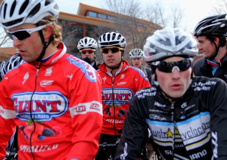 Yannick Eckmann, center, at the U23 'cross nationals line-up, behind teammate Cody Kaiser
