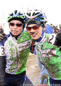 Groove Subaru-Alpha Bicycle Co. teammates (l - r) Moorhead and Zoerner after their 2013 'cross nationals race