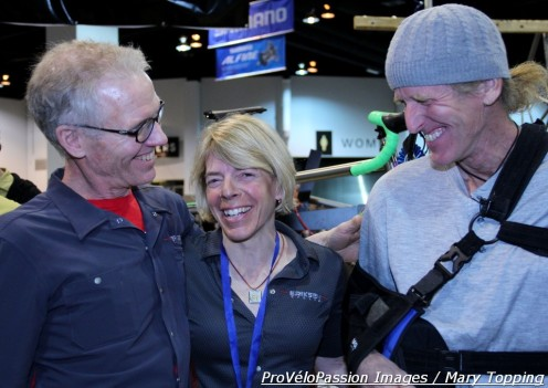 Kent Eriksen, Katie Eriksen, and national and world champion Steve Tilford share a laugh at the NAHBS in Denver
