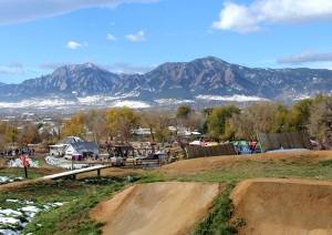 Boulder's famous flatirons from the Valmont Bike Park