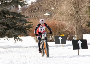 Jake Wells into the X-country snow bike finish at the 2013 Mountain Games