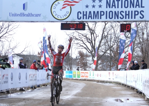 Logan Owen, Team Redline, wins the 2013 junior 17-18 U.S. national cyclo-cross championships, signaling his total number of victories