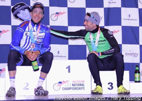 Danny Summerhill and Tim Johnson having fun waiting for Zach McDonald at 2013 Cyclo-cross Nationals