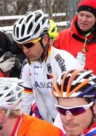 Yannick Eckmann at the 2013 Cyclo-cross Worlds start line in a German kit (photo by Hannelore Eckmann)