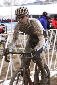Yannick Eckmann loves riding in the mud. 2013 Cyclo-cross Worlds (photo by Hannelore Eckmann)