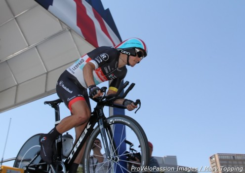 Matthew Busche leaves the start house for the 2012 USA Pro Challenge TT in Denver