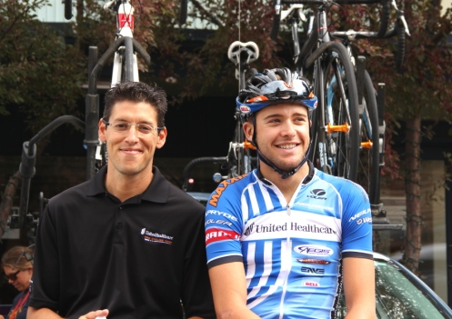 Mike Tamayo, General Manager and Sports Director at the UnitedHealthcare team, and Danny Summerhill in Aspen at the 2012 USA Pro Challenge