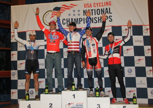 2013 cyclo-cross nationals 35 to 39 podium (l to r): Alec Donahue 4th, Justin Robinson 2nd, Russell Stevenson 1st, Jake Wells 3rd, Brian Wilichoski 5th