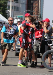Taylor Phinney consoles Tejay van Garderen after Tejay doesn't secure an overall 2012 USA Pro Challenge title