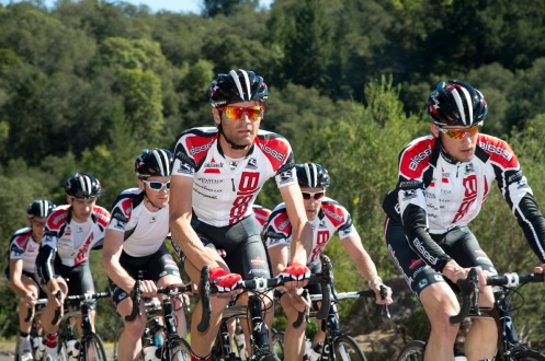 Bissell Pro Cycling Team at 2013 training camp, Phil Gaimon center. Photo courtesy of BISSELL Pro Cycling, by Casey B. Gibson