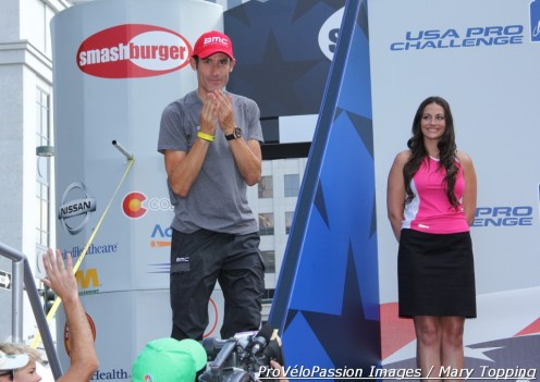 George Hincapie retired after the 2012 USA Pro Challenge. Here he greets spectators in Denver.